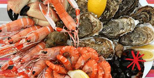 composition de fruits de mer noel
